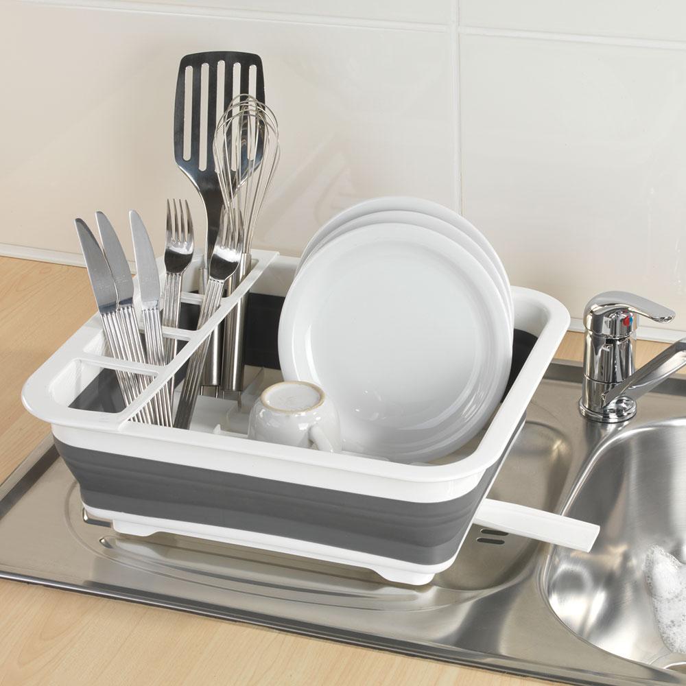 Подставка для посуды, складная, белый / серый