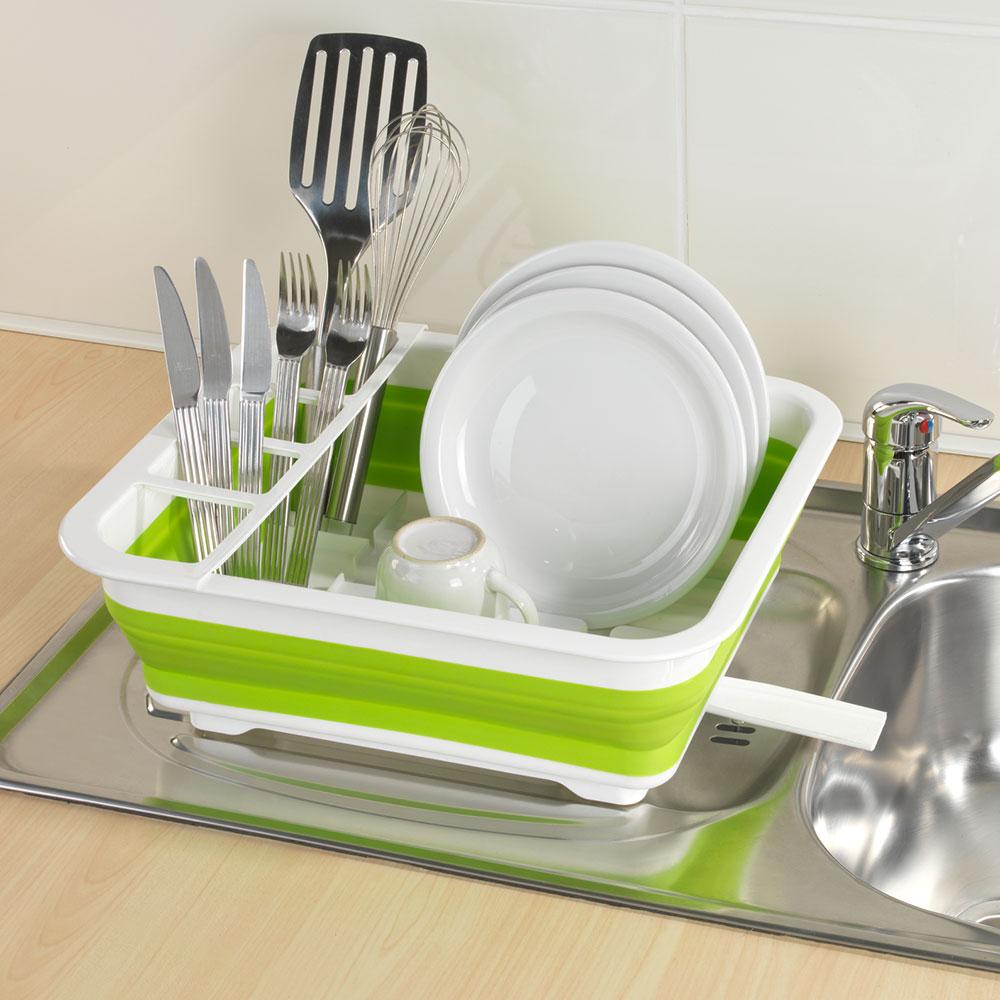 Подставка для посуды, складная, белый / зеленый