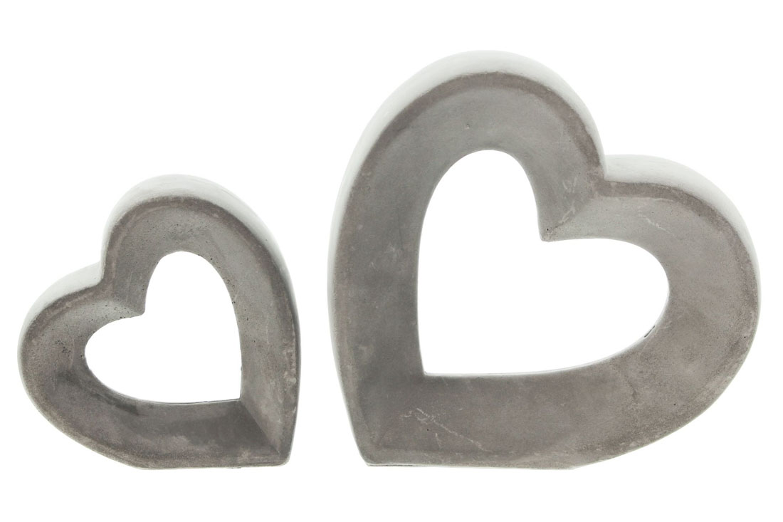 """Декоративные фигуры сердечек """"Grey"""" 2шт."""