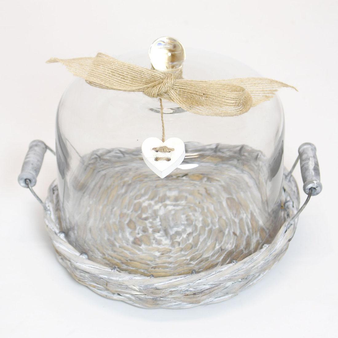 """Поднос со стеклянным куполом """"Сердечко"""", 2 предмета"""