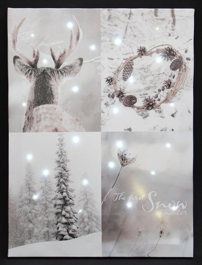 """Картина  со светодиодной подсветкой """"Первый снег"""""""