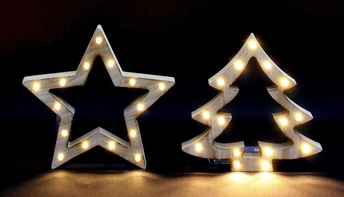 """Декоративные украшения со светодиодной подсветкой """"Звезда и елочка"""""""