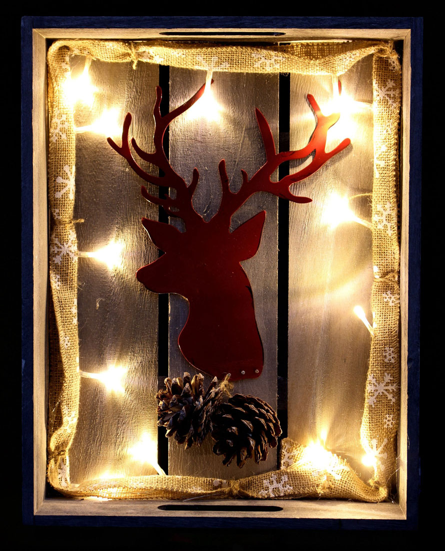 """Декоративное украшение со светодиодной подсветкой """"Красный олень"""""""