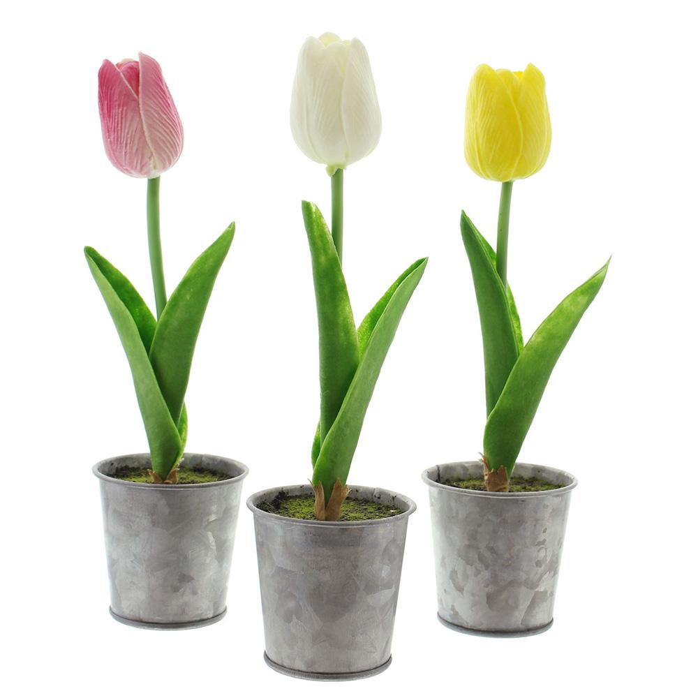 Декоративные тюльпаны в горшочках, 3шт