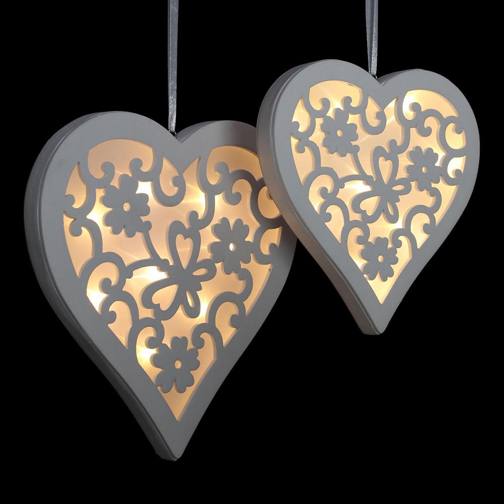 """Подвесные украшения со светодиодной подсветкой """"Сердечки с узорами"""", 2шт"""