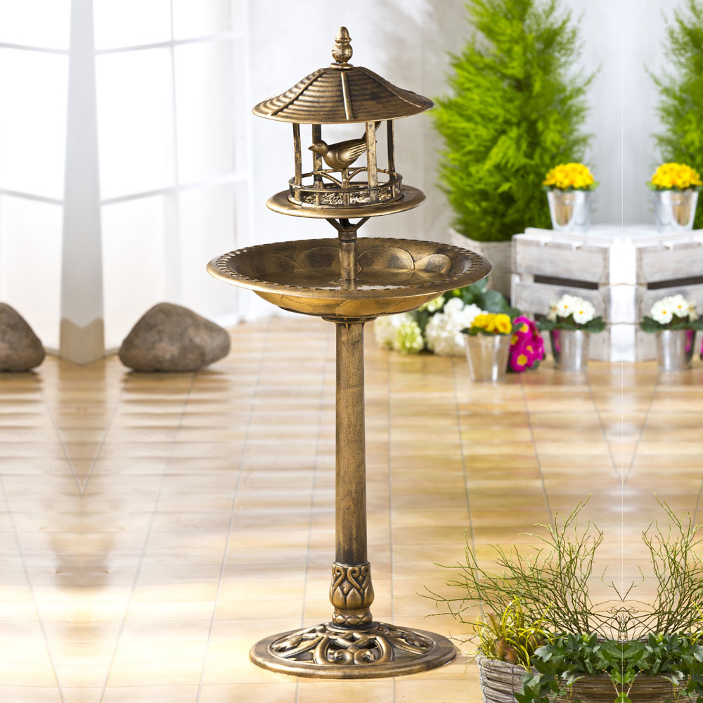 Поилка-купальня для птиц NOSTALGIE, бронзовый