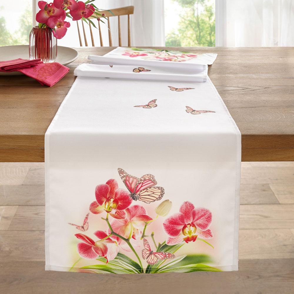 """Дорожка на стол """"Бабочка на орхидеях"""""""