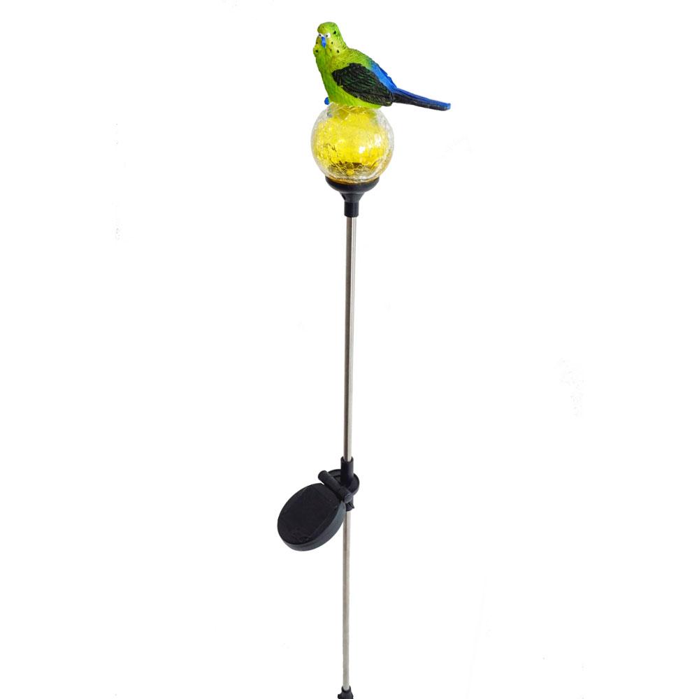 """Декоративный штекер """"Волнистый попугайчик"""" с солнечным светильником"""