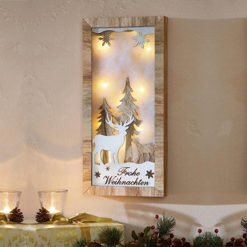 """Настенное панно со светодиодной подсветкой """"Frohe Weihnachten"""""""