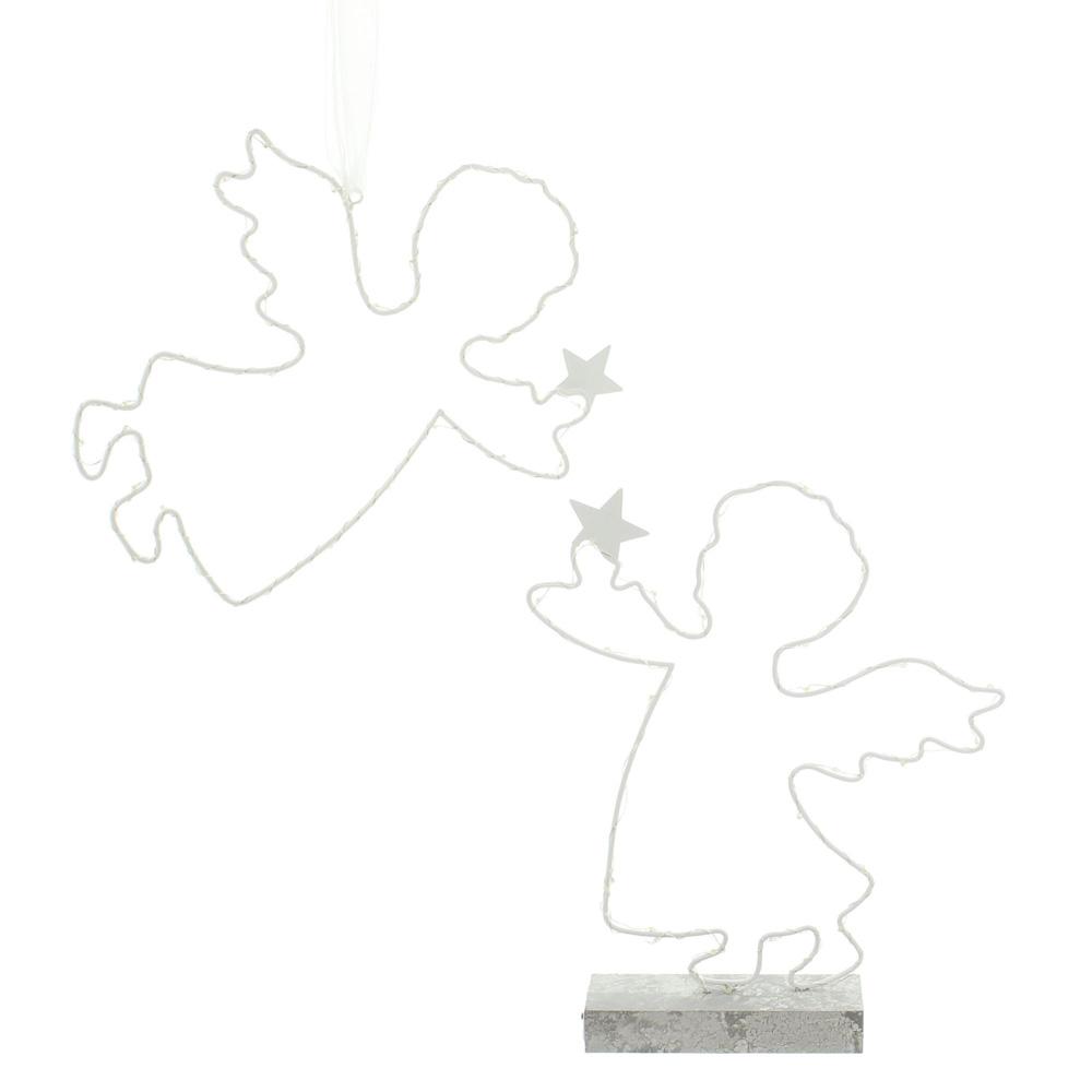 """Декоративные украшения со светодиодной подсветкой """"Ангелочки со звездами"""", 2 штуки [06527],"""