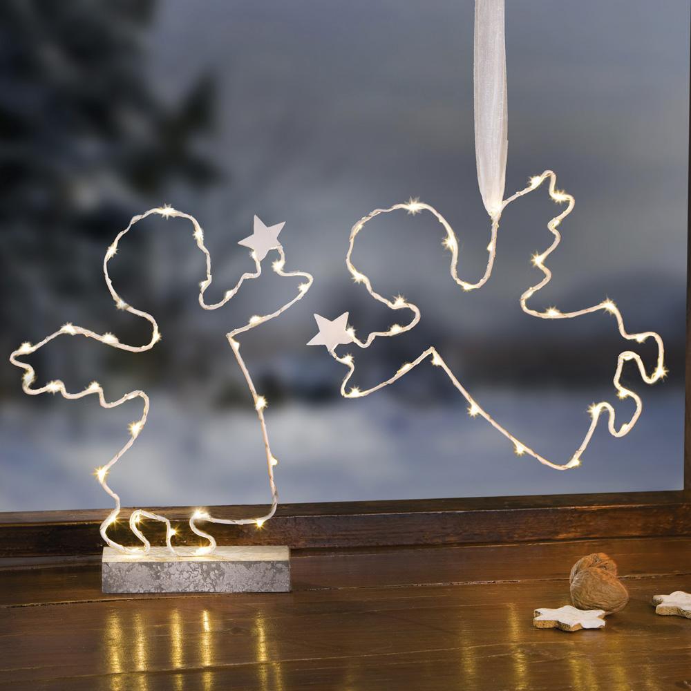 """Декоративные украшения со светодиодной подсветкой """"Ангелочки со звездами"""", 2 шт"""