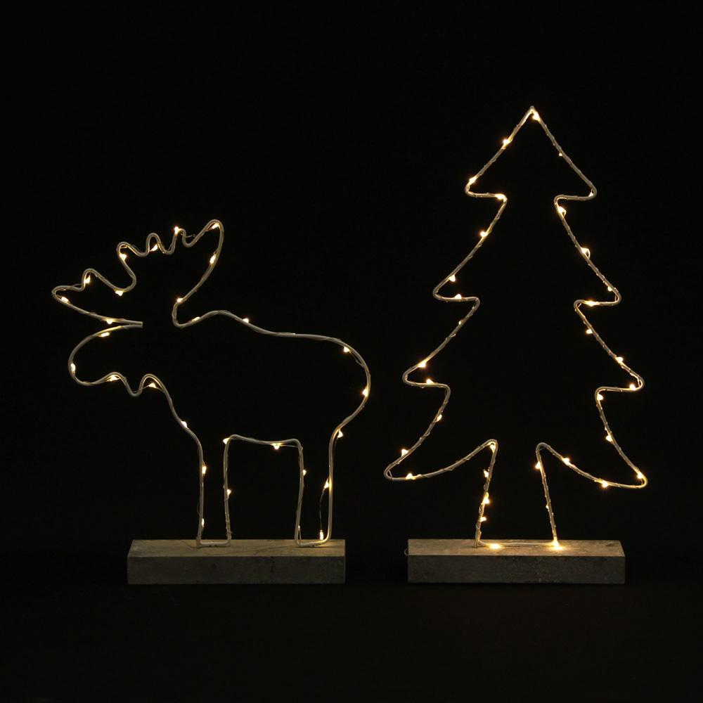"""Декоративные украшения со светодиодной подсветкой """"Елочка и олень"""", 2 штуки [06528],"""
