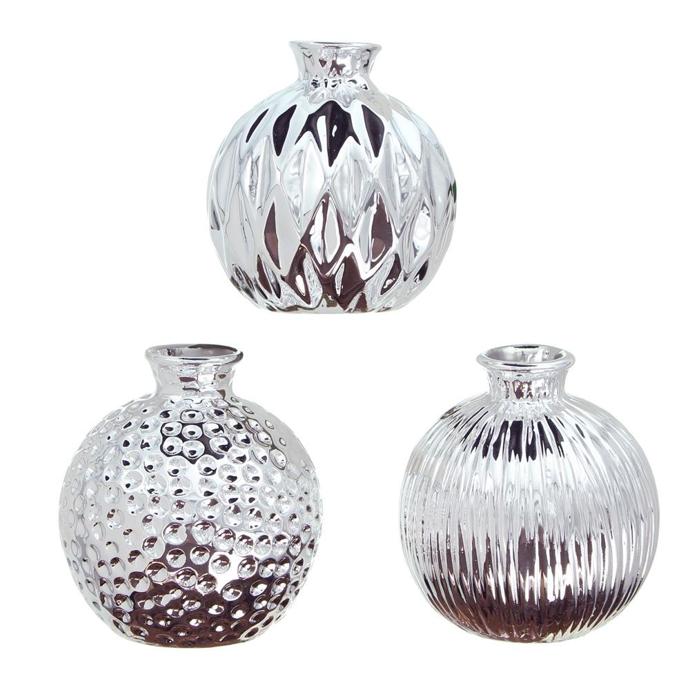 """Декоративные вазочки """"Блеск серебра"""", 3 штуки [06566],"""