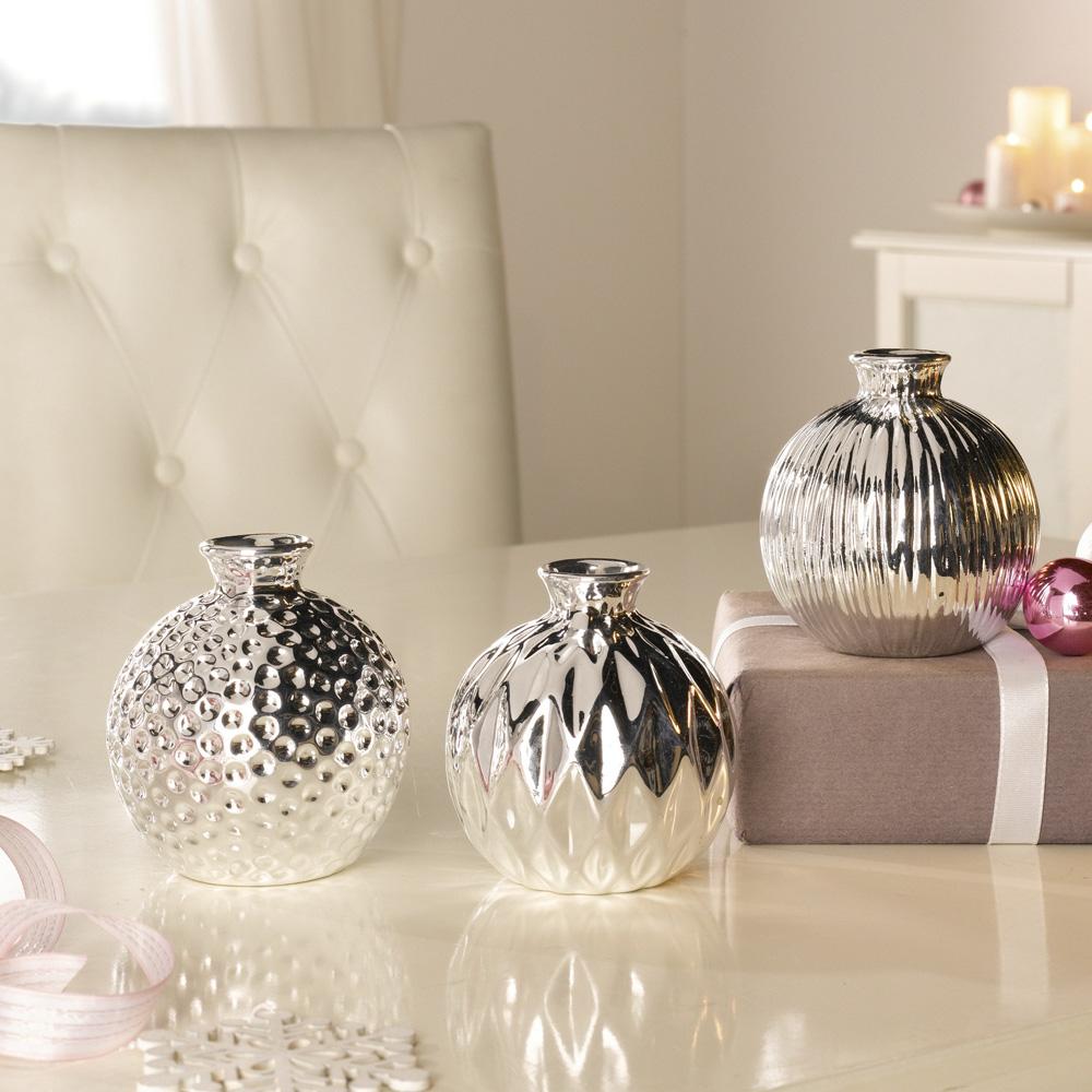 "Декоративные вазочки ""Блеск серебра"", 3 шт"