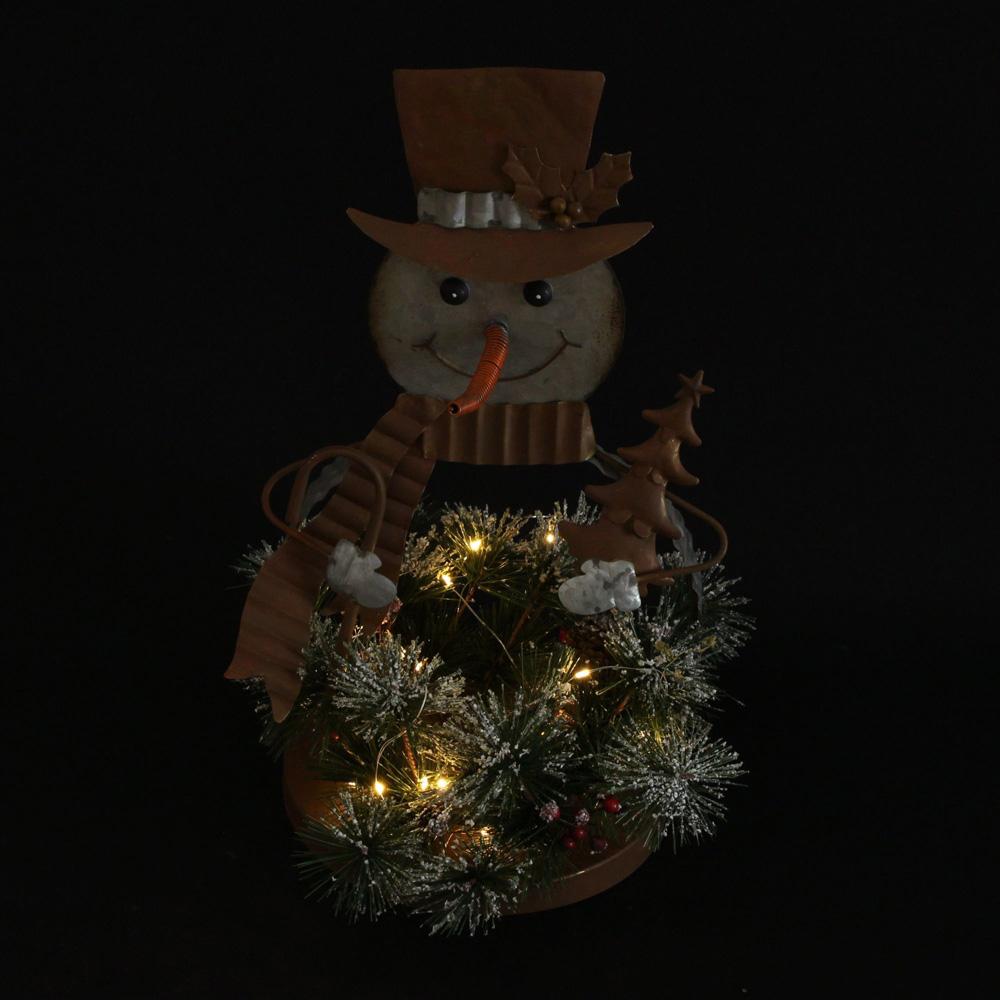 """Декоративная фигура с подсветкой """"Снеговик с еловой композицией"""" [06568],"""