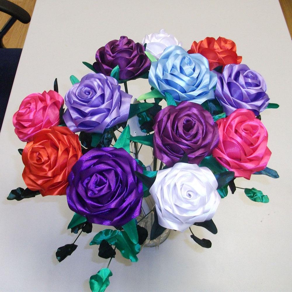 Атласная роза, безупречная белая [06447], Атласные цветы (авторская серия)