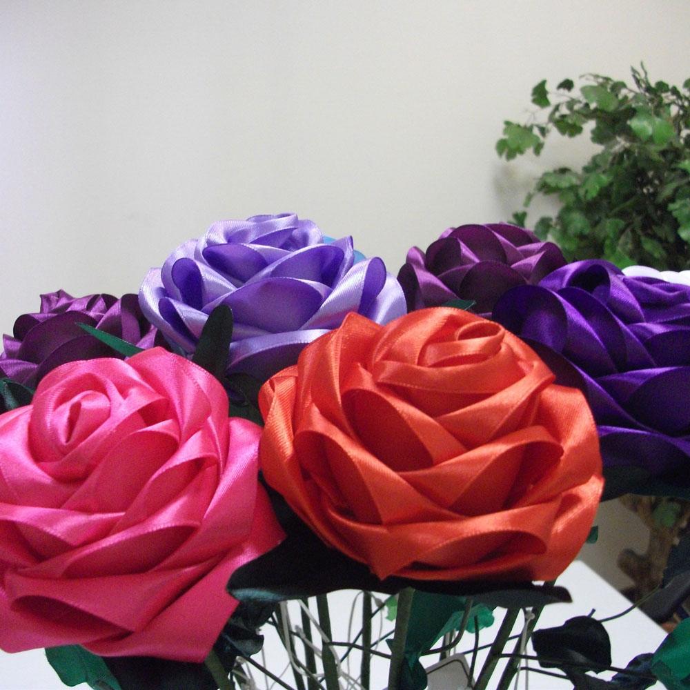 Атласная роза, страстная алая [06445], Атласные цветы (авторская серия)