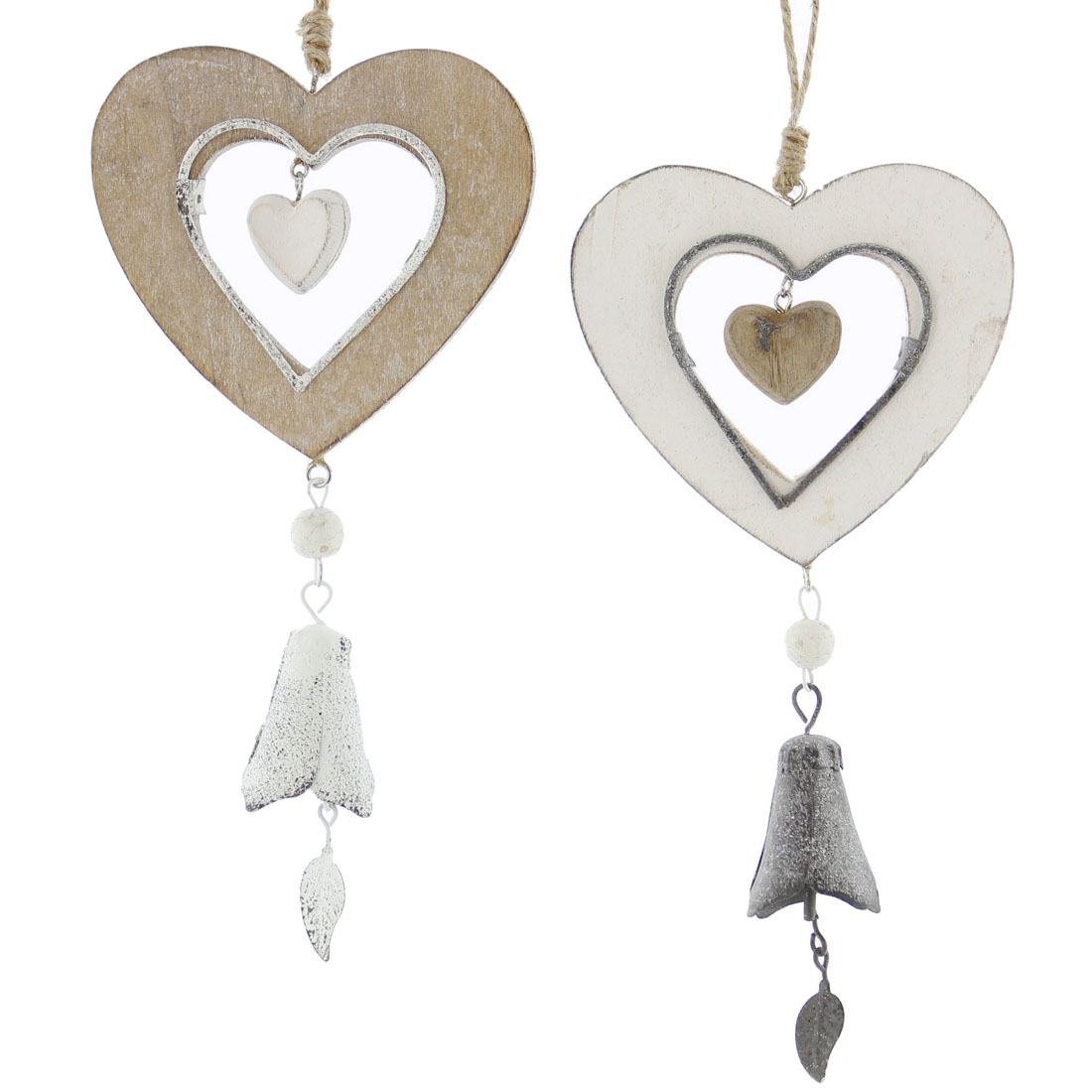 """Подвесные украшения  """"Сердечки с колокольчиками"""", 2 штуки [03721],"""