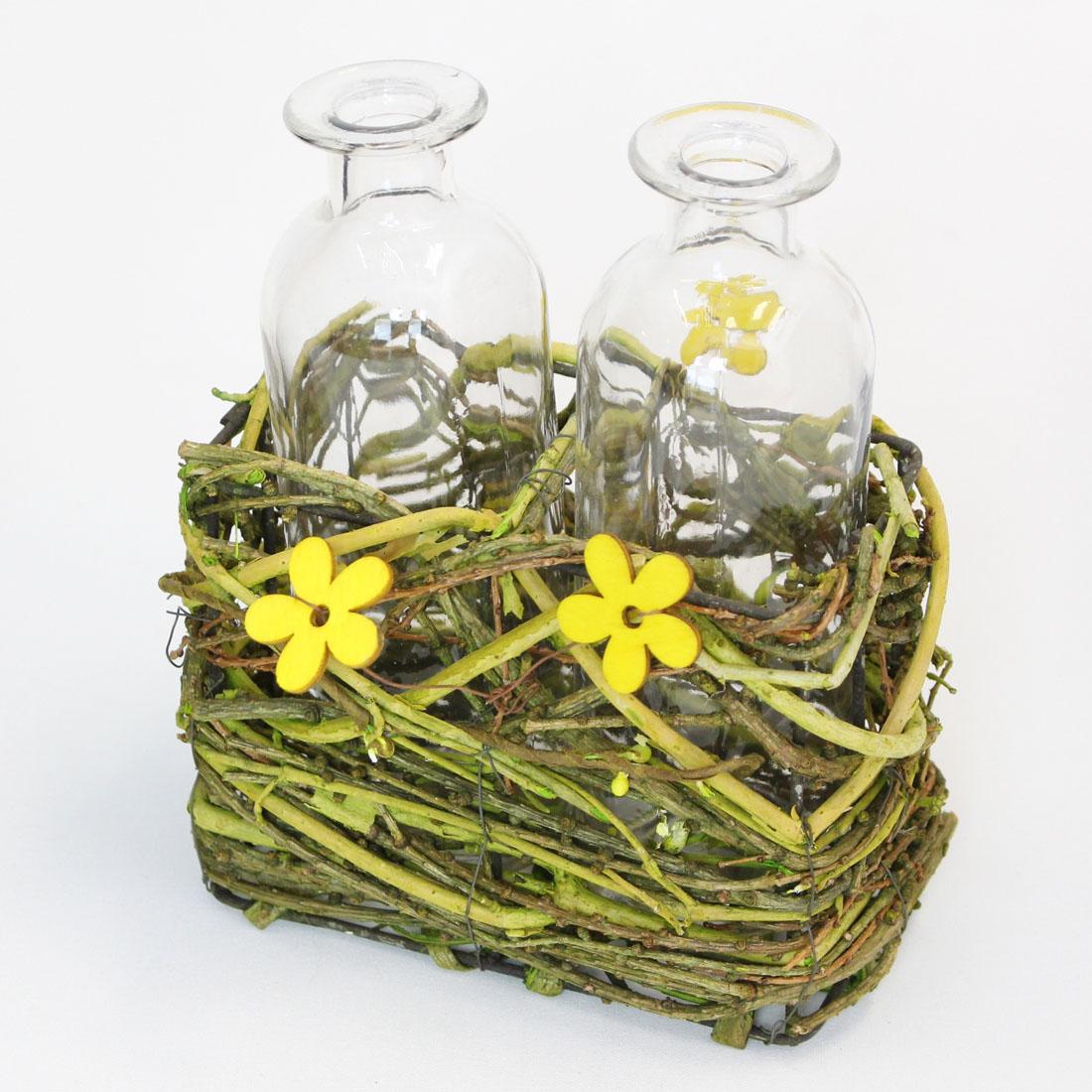 """Вазочки в корзинке """"Полевые цветы"""" [05361],"""