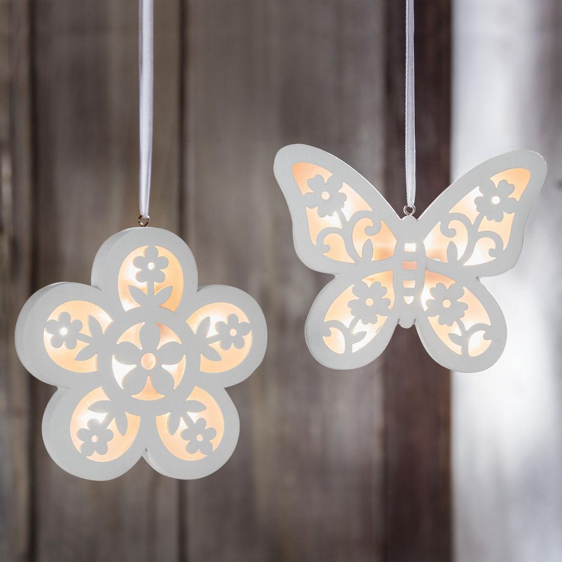 """Подвесные украшения """"Цветок и бабочка"""", 2 штуки [06604],"""