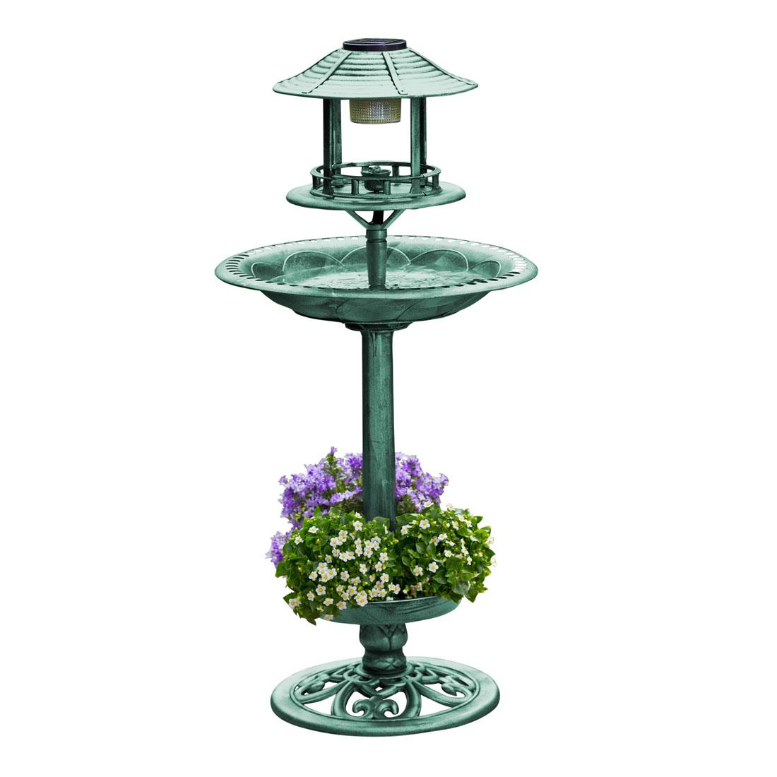 """Поилка для птиц """"Солар"""", зеленая, с солнечным светильником [06715],"""