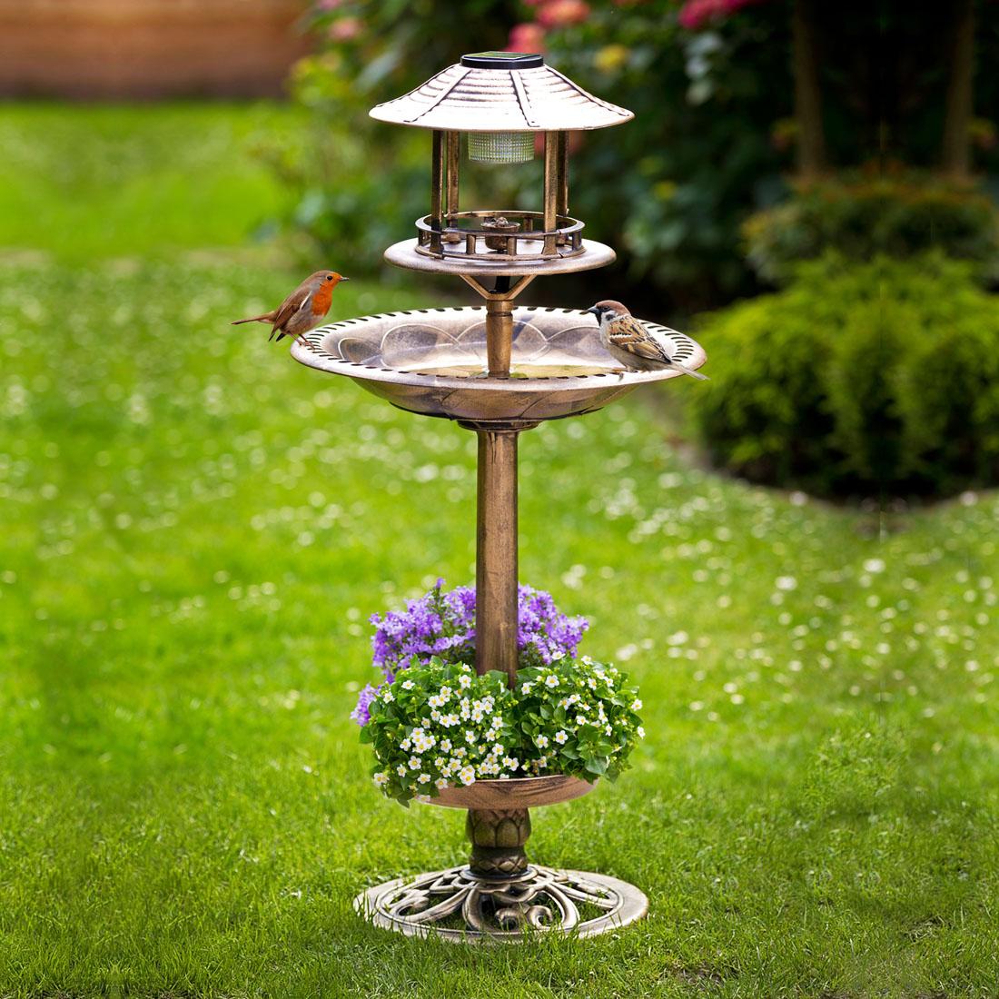 """Поилка для птиц """"Солар"""", бронзовая, с солнечным светильником [06716],"""