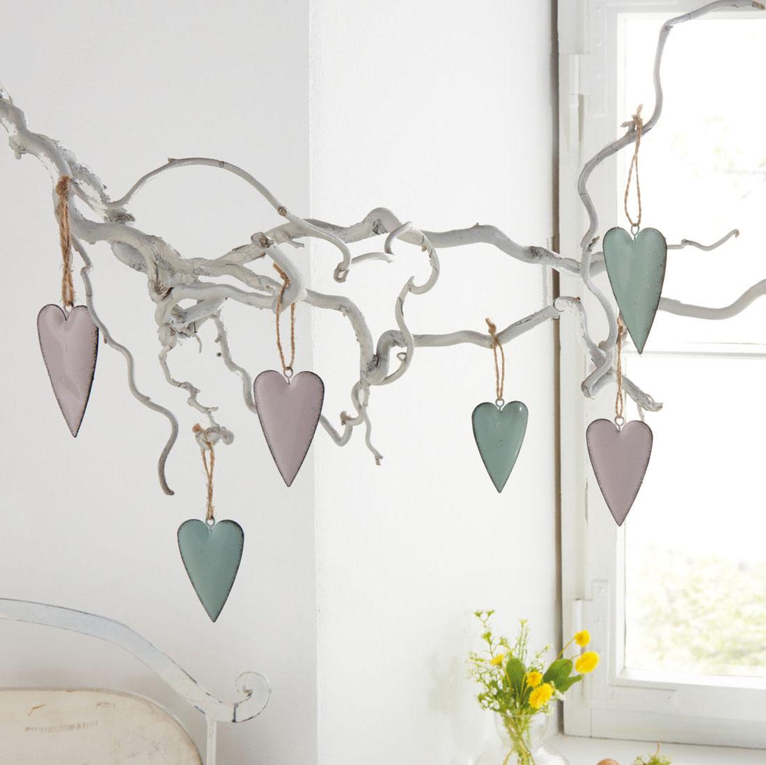 """Подвесные украшения """"Сердечки - пастель"""", 6 штук [07198],"""
