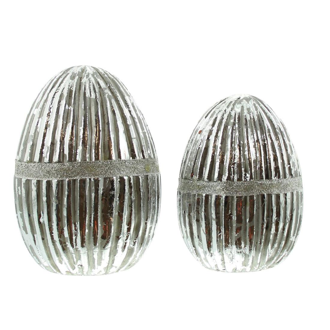"""Декоративные фигуры """"Яйца - серебряные полосы"""", 2 штуки [07244],"""