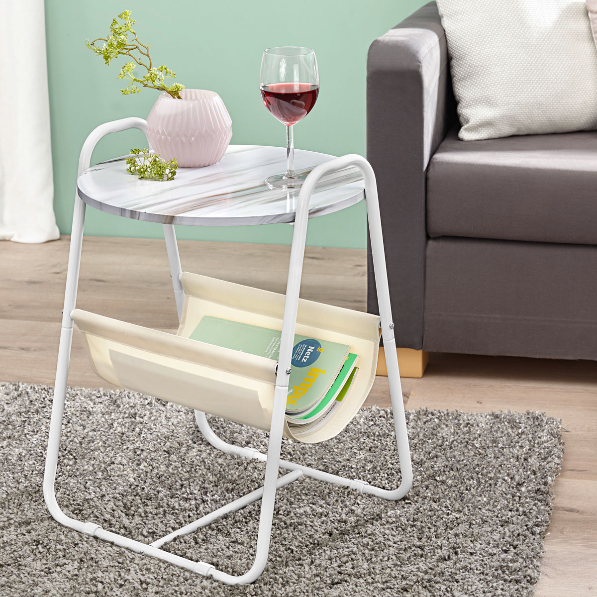 """Приставной столик """"Белый мрамор"""" [08184],"""