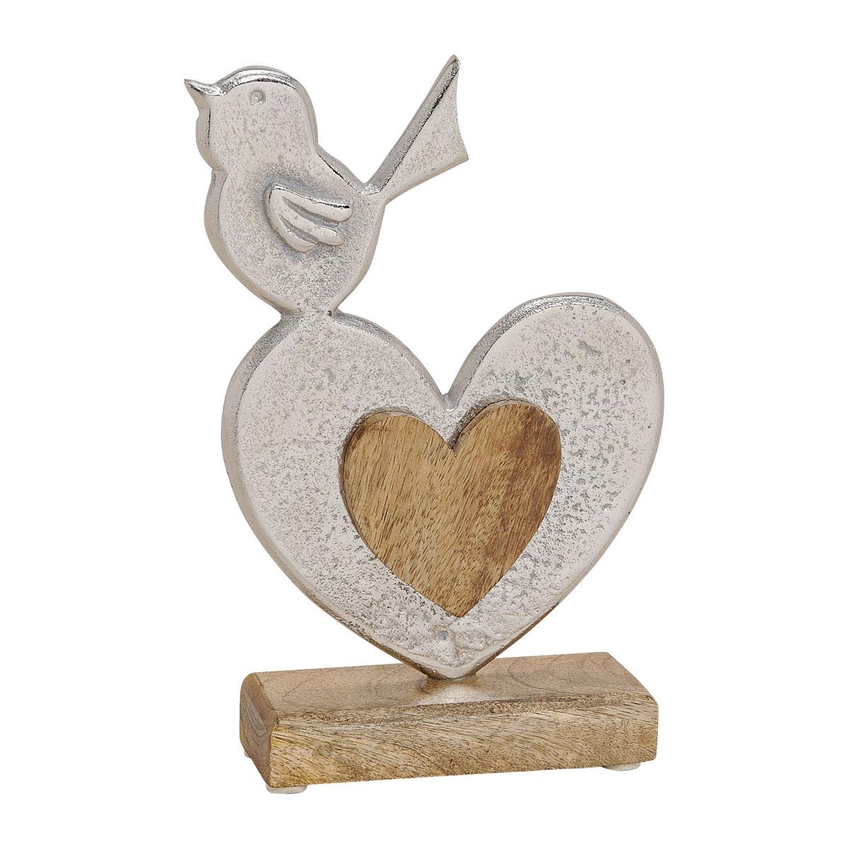"Декоративная фигура ""Сердце с птичкой, серебро"" [08344],"