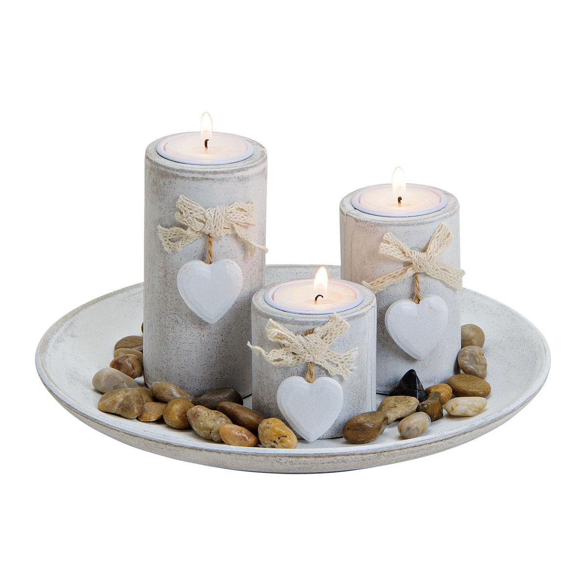 "Подсвечники на подносе с декором ""Сердечки"", на 3 свечи [08400],"