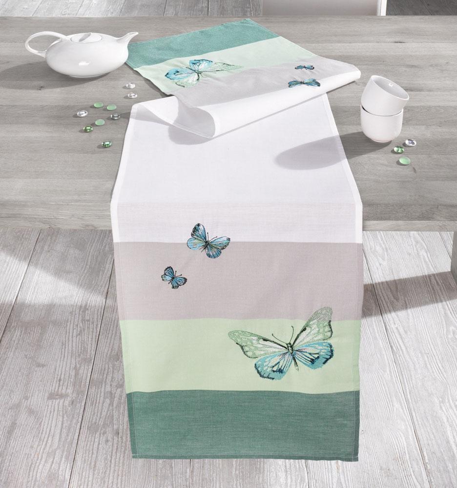 """Дорожка на стол """"Бирюзовые бабочки"""" 40х160см"""