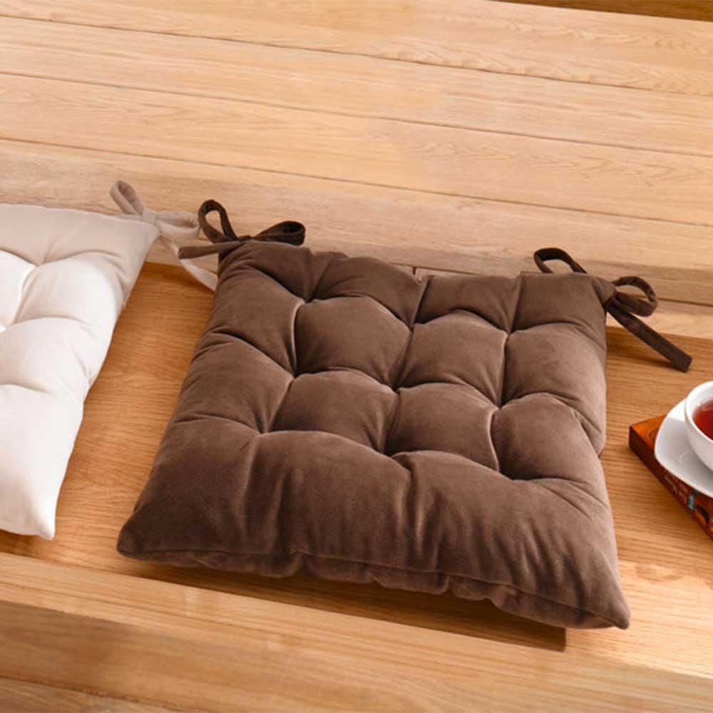"Подушка для сидения ""Замша"", коричневая, 40х40см"