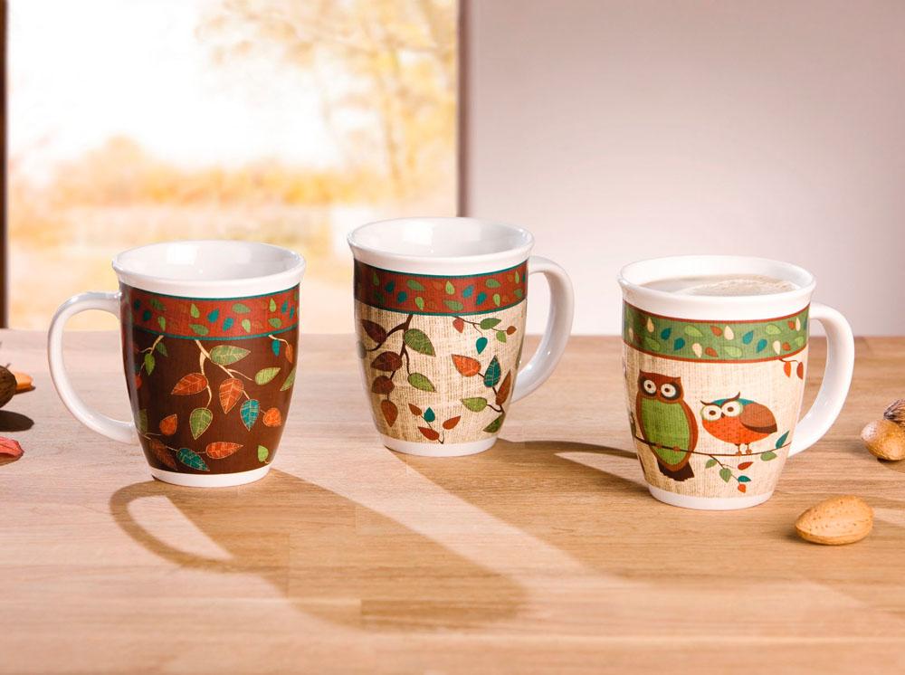 """Чашки """"Листочки"""" 3шт."""