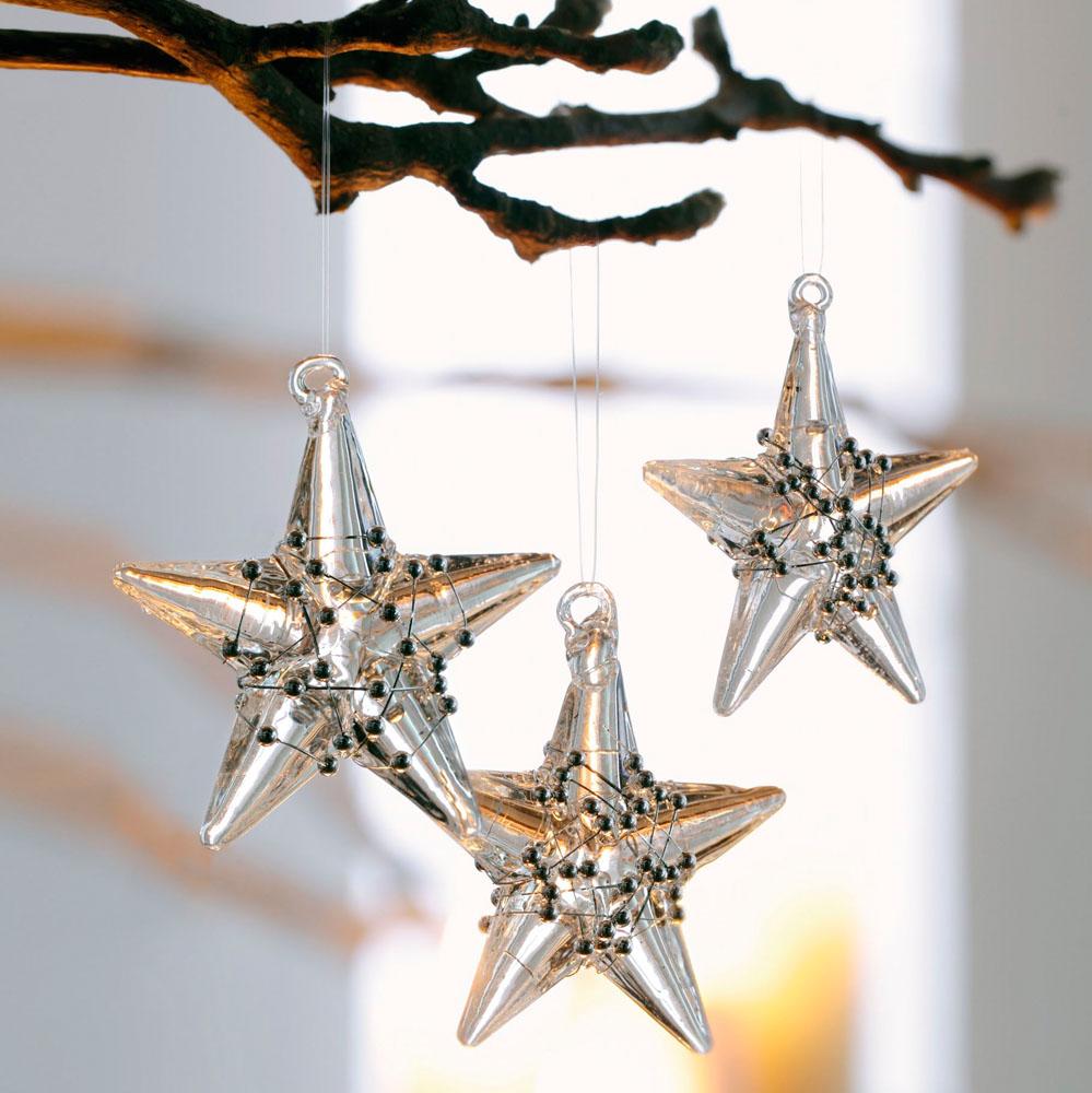 """Подвесные украшения """"Стеклянные звезды"""" 3шт."""