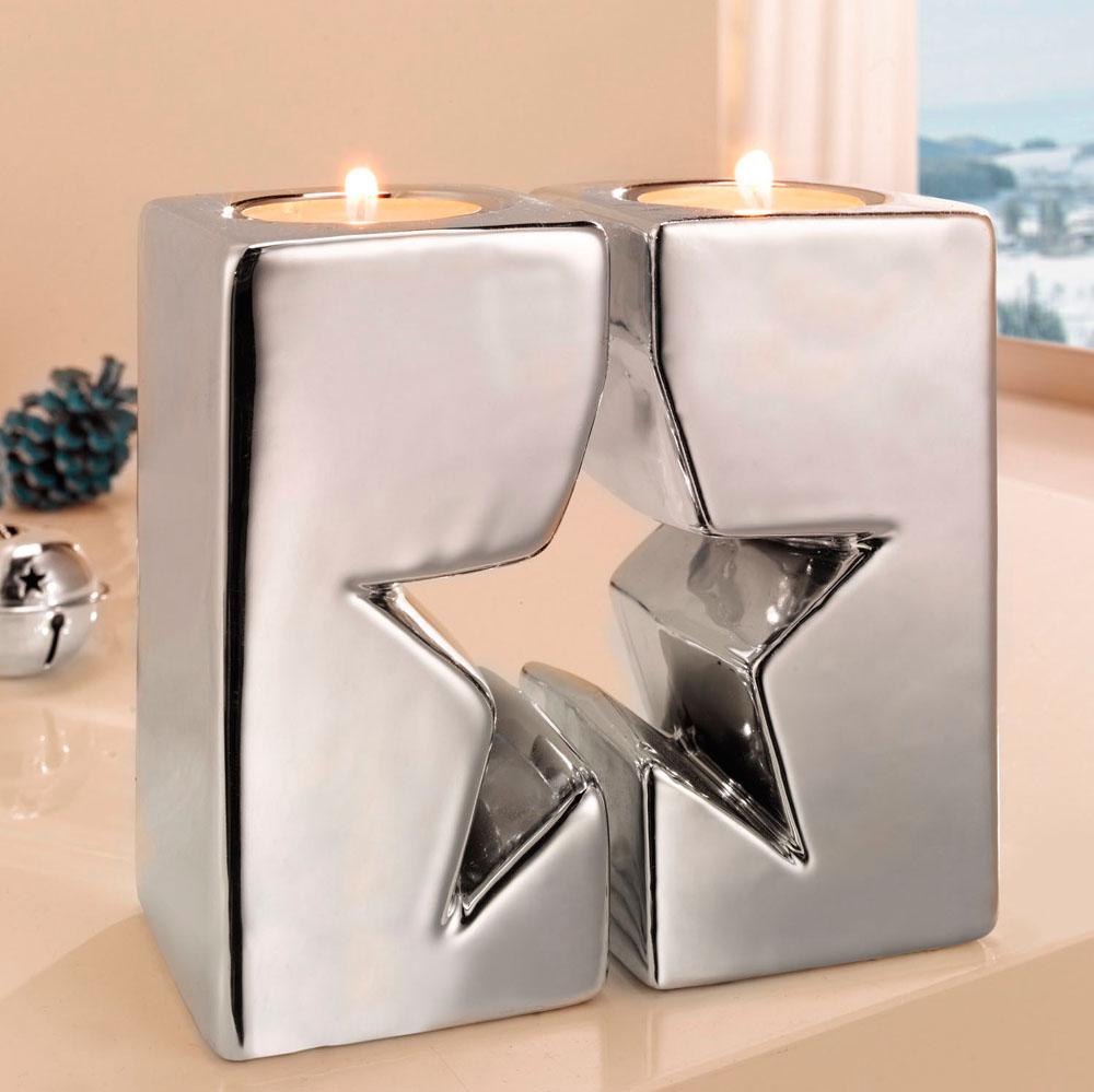 """Подсвечники """"Серебряная звезда"""", 2 штуки [04884] Подсвечники """"Серебряная звезда"""" 2шт."""