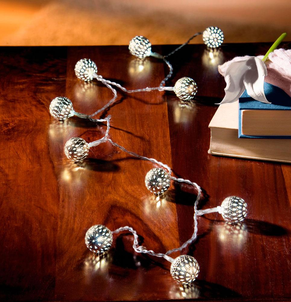 """Декоративная гирлянда со светодиодами """"Серебряные шары"""""""