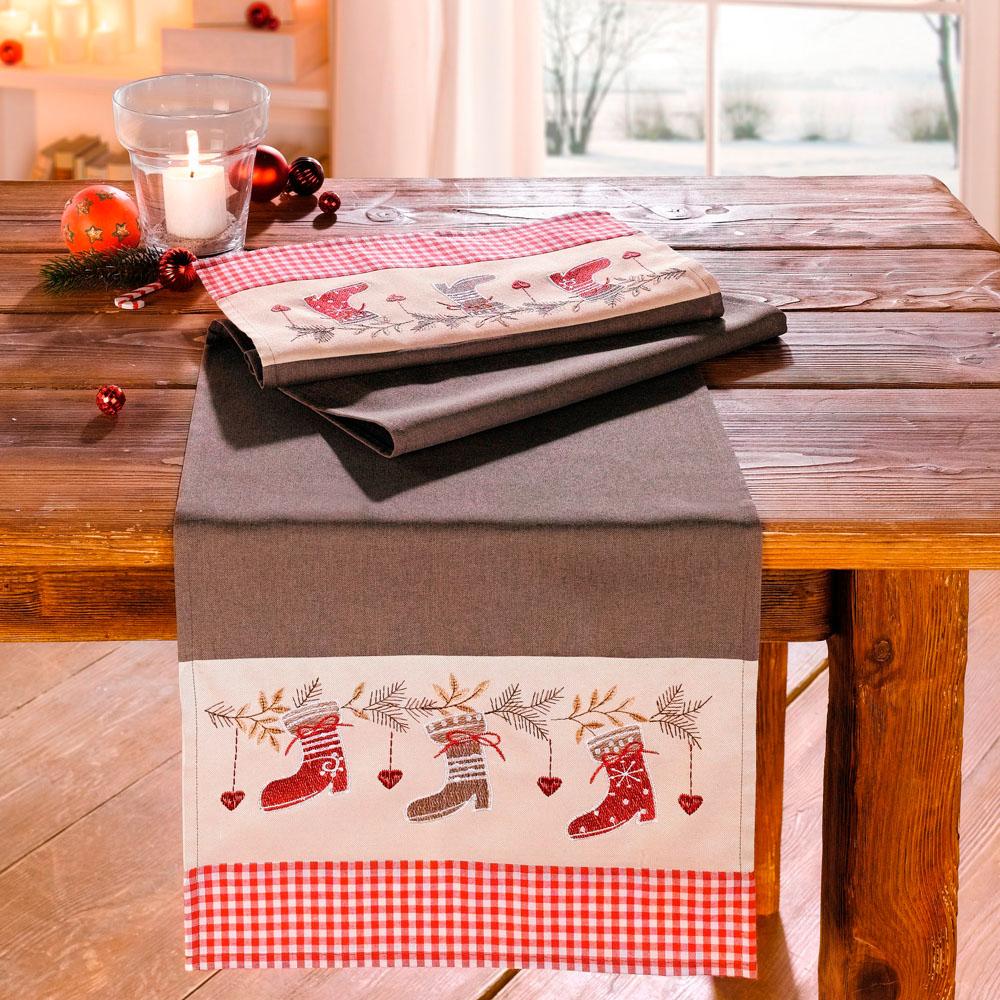 "Дорожка на стол ""Рождественские сапожки"""