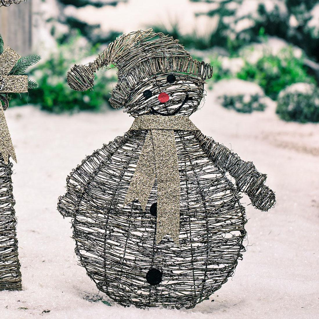"""Декоративная фигура """"Снеговик - плетение"""""""