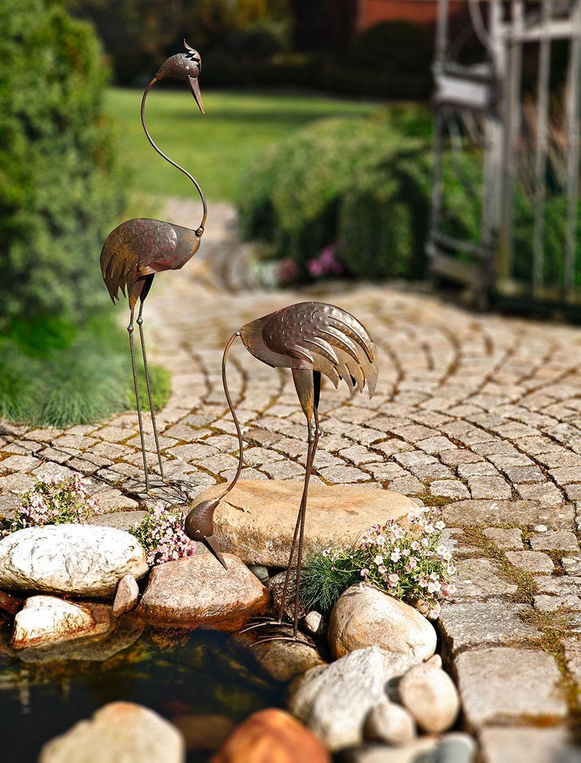 """Декоративная фигура садовая """"Цапля в наклоне"""", высота 70см"""