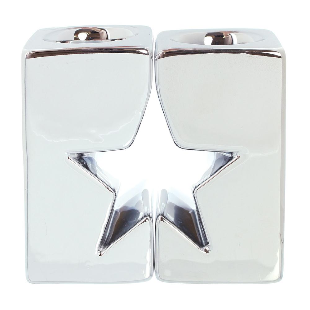 """Подсвечники """"Серебряная звезда"""", 2 штуки [04884] Подсвечники """"Серебряная звезда"""", 2шт"""