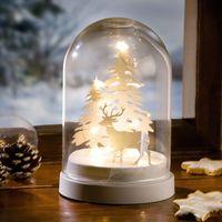 """Декоративное украшение с о светодиодной подсветкой """"Стеклянный купол - зимний лес"""" [07062],"""