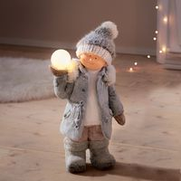 """Фигура со светодиодной подсветкой """"Мальчик со снежком"""" [07683],"""
